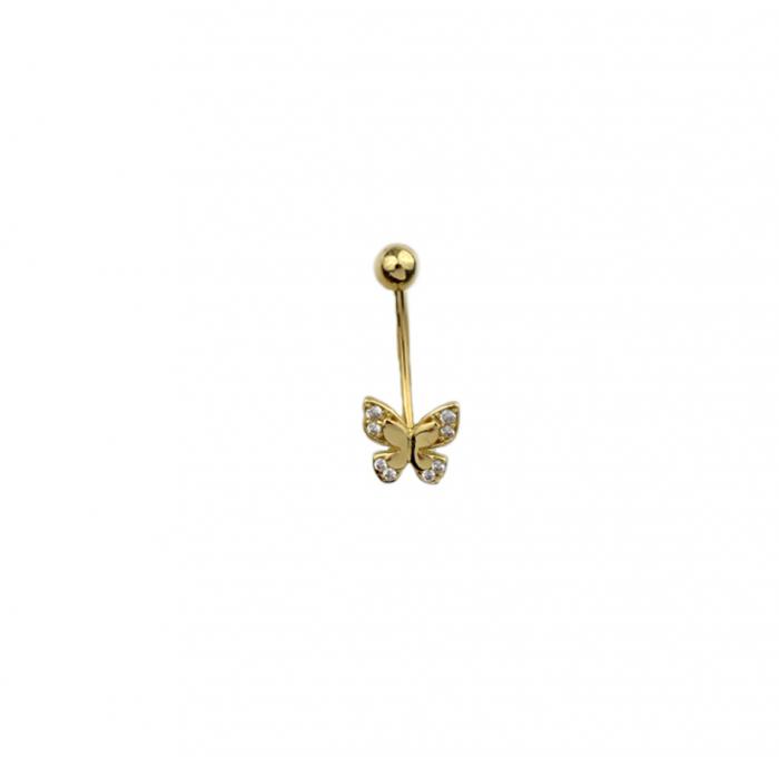 Piercing aur galben buric fluture - DA489 [0]