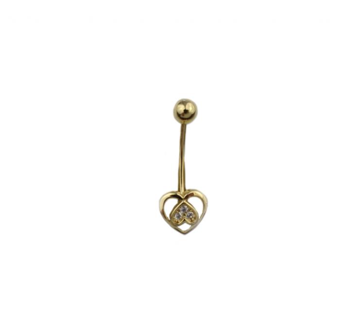 Piercing aur galben buric inima - DA492 [0]