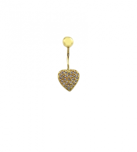 Piercing aur galben buric inimioara cu zirconia - DA341 0