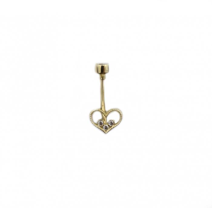 Piercing aur galben buric inimioara - DA495 [0]