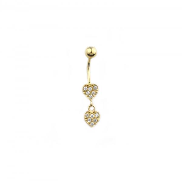 Piercing aur galben buric inimioare - DA452 0