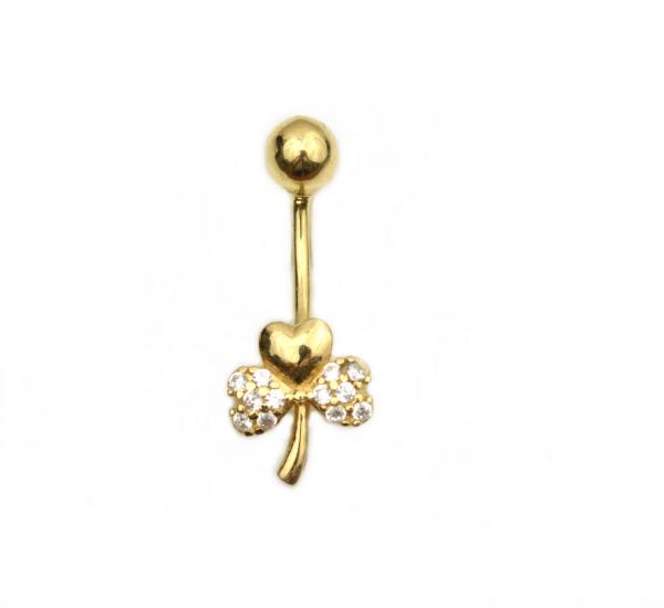 Piercing aur galben buric trifoi - DA243