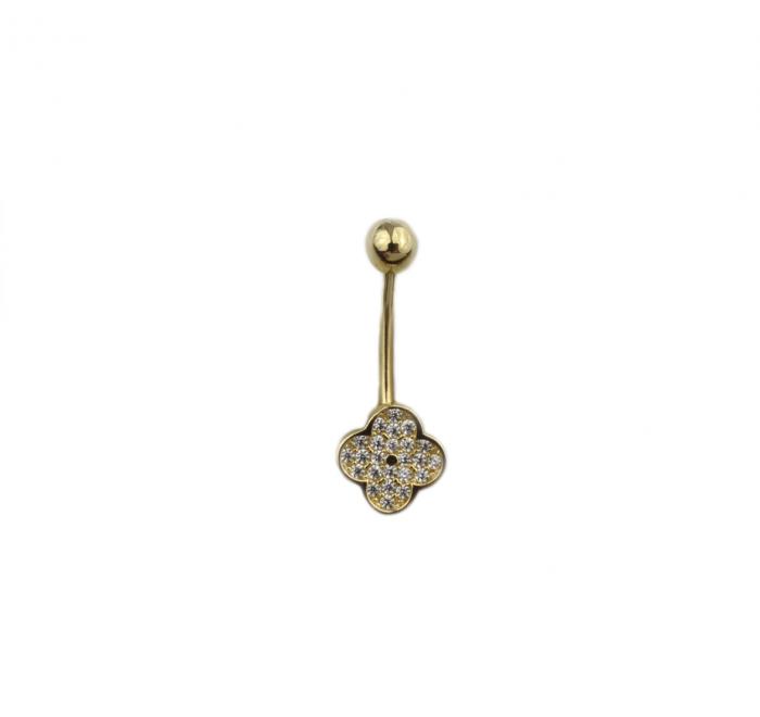 Piercing aur galben buric trifoi - DA493 [0]