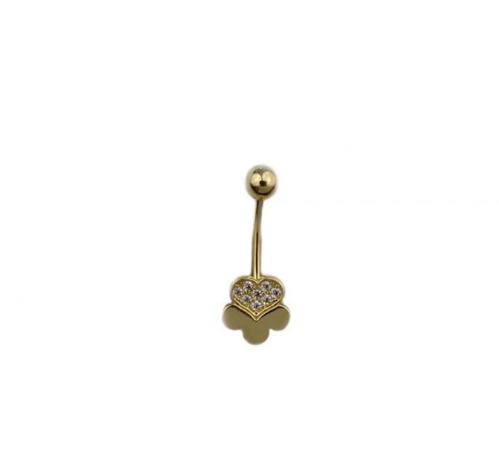Piercing aur galben buric trifoi - DA499 [0]