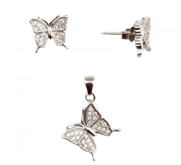 Set argint rodiat cu fluturi - DA68 0