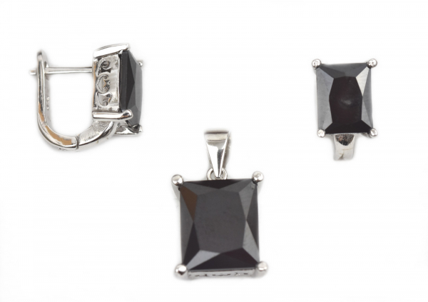 Set argint rodiat cu onix - DA157