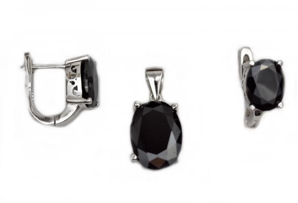Set argint rodiat cu zirconia neagra - DA158 0