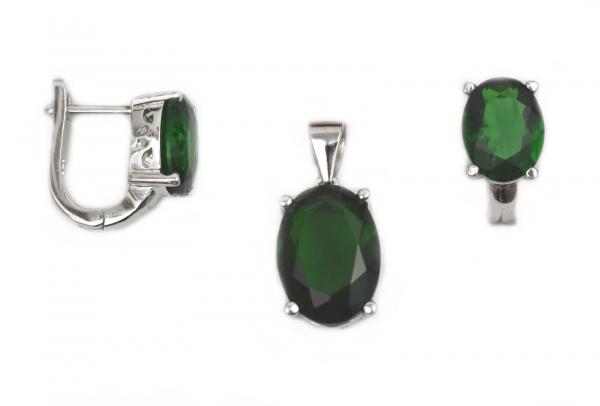 Set argint rodiat cu zirconia verde - DA160 0