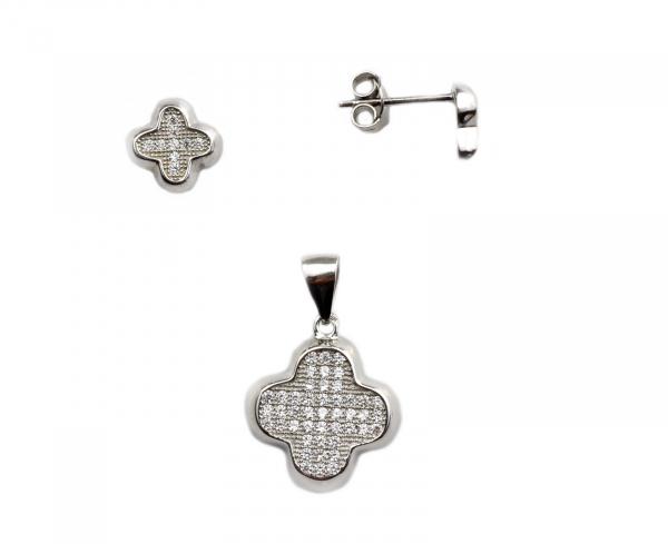 Set argint rodiat cu pietre - DA136 0