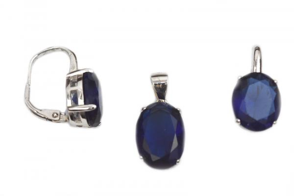 Set argint rodiat cu zirconiu albastru - DA166