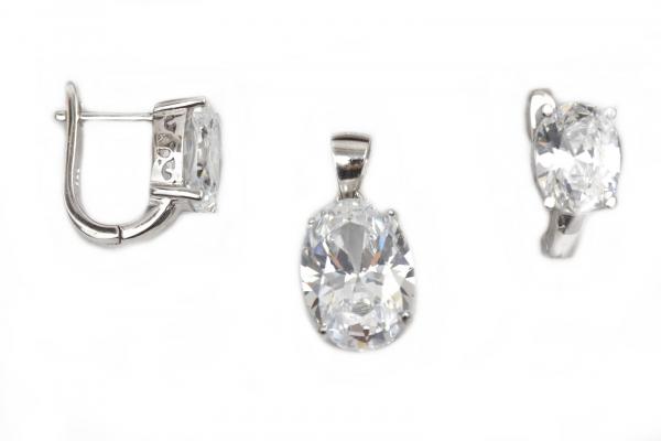 Set argint rodiat cu zirconia - DA162 0