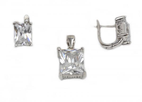 Set argint rodiat cu zirconia - DA219. 0