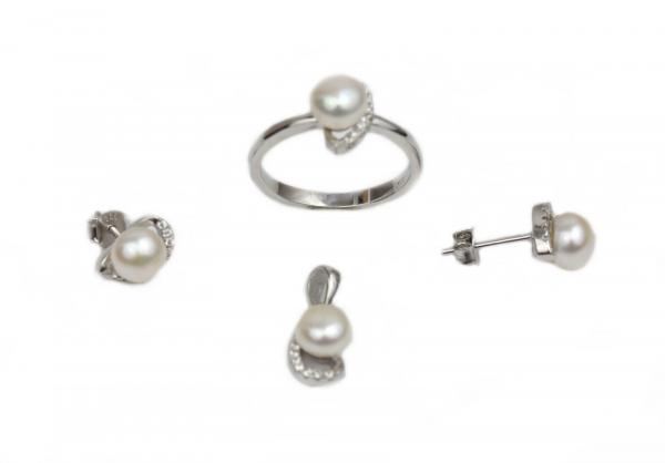 Set argint rodiat cu zirconiu si perle - DA221
