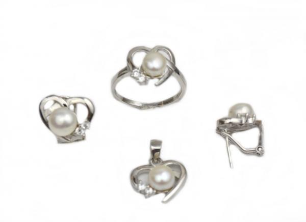 Set argint rodiat cu zirconia si perle - DA222 0