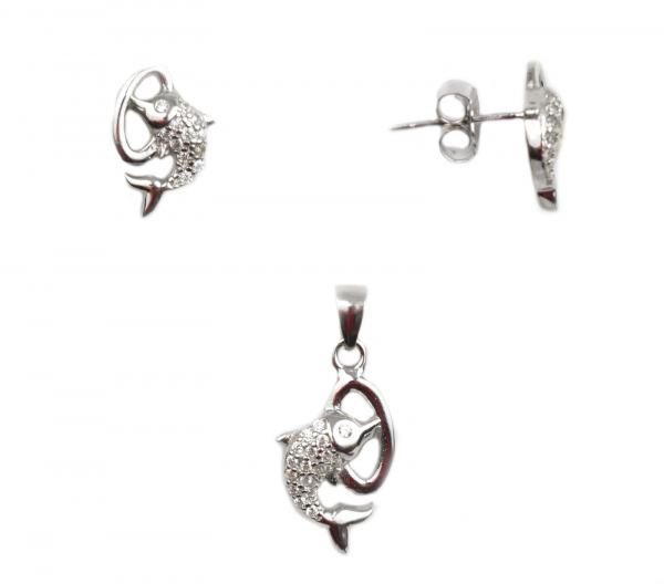 Set argint rodiat delfini - DA72 0