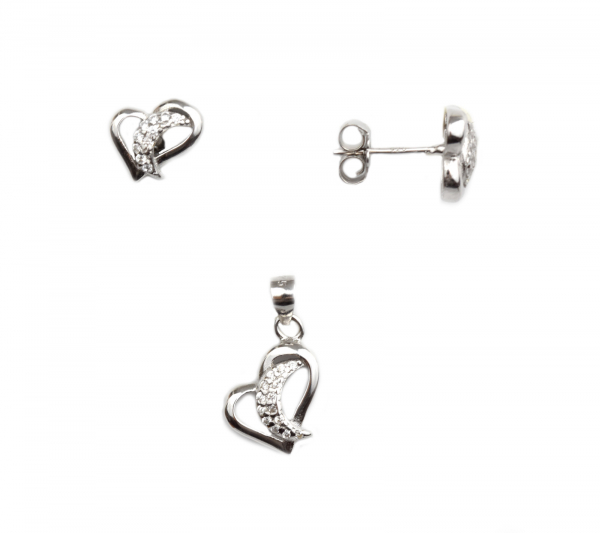 Set argint rodiat inimioare - DA97 0