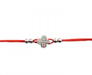 Bratara snur rosu cu pandant argint rodiat - DA1490