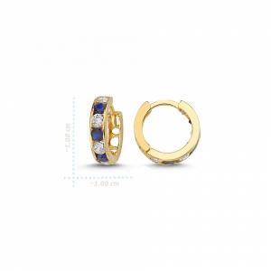 Cercei aur galben copii cu zirconiu albastru - DA234