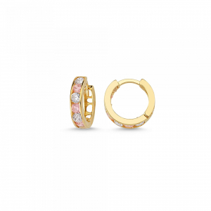 Cercei aur galben copii cu zirconiu roz - DA236