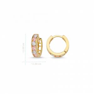 Cercei aur galben copii cu zirconia roz - DA2361
