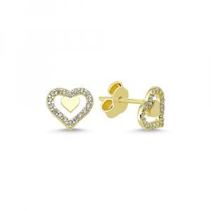 Cercei aur galben inimioare cu zirconia - DA3360