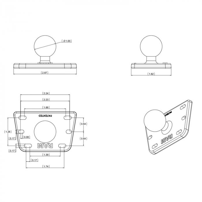 Ram Mount adaptor montare pe capac rezervor lichid frana RAM-B-345 [1]