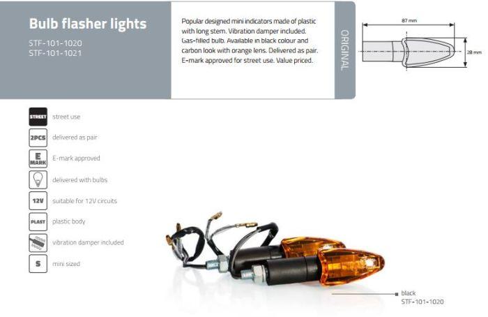 Semnalizator moto carbon cu bec Motion Stuff STF-101-1021 0