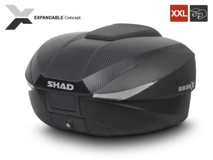 Topcase moto expandabil SHAD SH58X Carbon 3