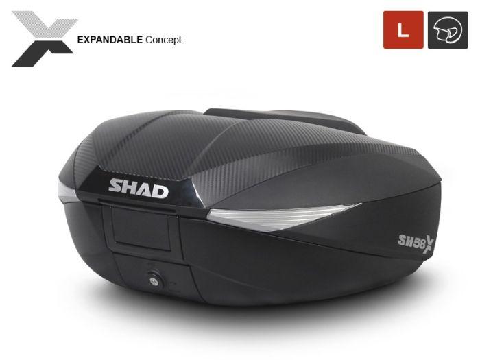 Topcase moto expandabil SHAD SH58X Carbon 1