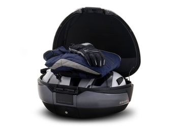 Topcase moto SHAD SH48 Gri Inchis cu spatar si capcac de carbon