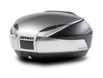 Topcase moto SHAD SH48 Titanium cu spatar si capac de carbon