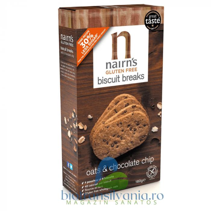 Biscuiti fara gluten din ovaz integral cu ciocolata, 160g Nairn's 0