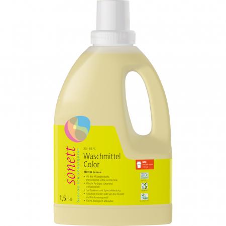 Detergent lichid pentru rufe colorate cu menta si lamaie