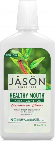 Apa de gura Healthy Mouth cu tea-tree si scortisoara pt gingiile iritate, Jason, 473 ml [0]