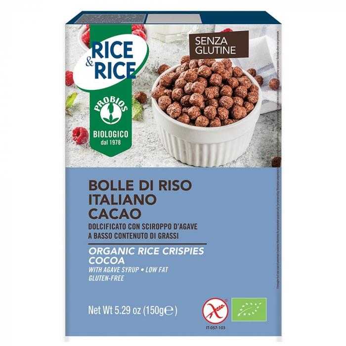 Bilute de orez cu cacao fara zahar, fara gluten 150g 0
