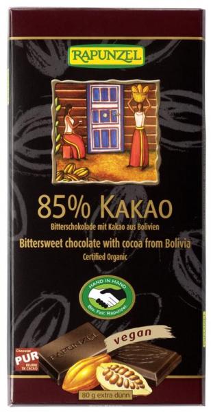 Ciocolata bio amaruie 85% cacao HIH 80g 0