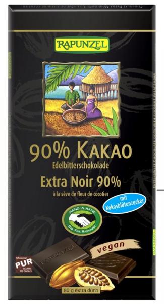 Ciocolata amaruie 90% cacao si zahar de cocos 80g 0