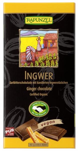 Ciocolata bio amaruie cu ghimbir 55% cacao HIH 80g 0