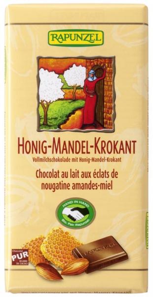 Ciocolata din lapte integral crocanta cu miere si migdale  100 g 0