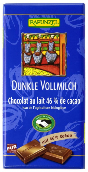Ciocolata neagra cu lapte integral 46 cacao  100 g 0