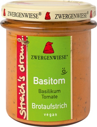 Crema tartinabila vegetala Basitom  cu busuioc si tomate 160g 0