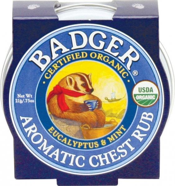Mini balsam aromatic pt. desfundarea nasului si respiratie regulata, Chest Rub Badger 21 g 0