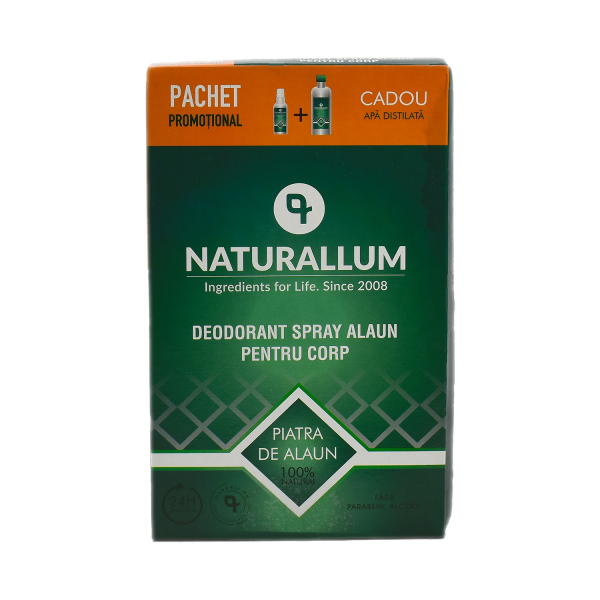 Pachet Alaun Corp - Deo Spray Alaun pt corp 100ml + Refill Apa Distilata 500ml, Naturallum 0