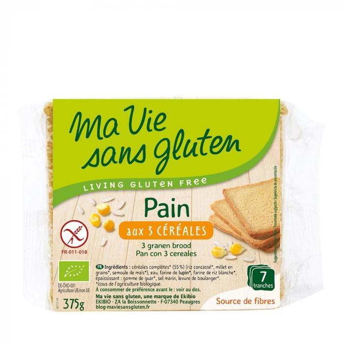 Paine cu 3 cereale feliata - fara gluten 375g [0]