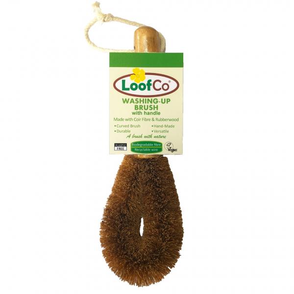 Perie lufa, cu maner, din fibre de cocos, pentru spalat vasele, LoofCo 0