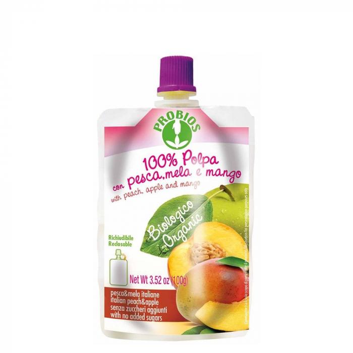 Piure de fructe fara zahar - piersici, mere, mango 100g 0