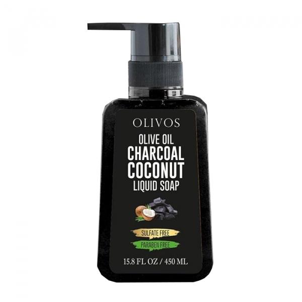 Sapun lichid cu ulei de masline, carbune activ si nuca de cocos, pt fata si corp Olivos, 450 ml 0