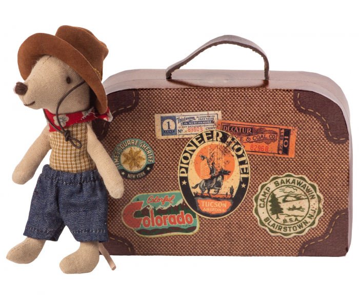 Cowboy in suitcase, little brother mouse 0