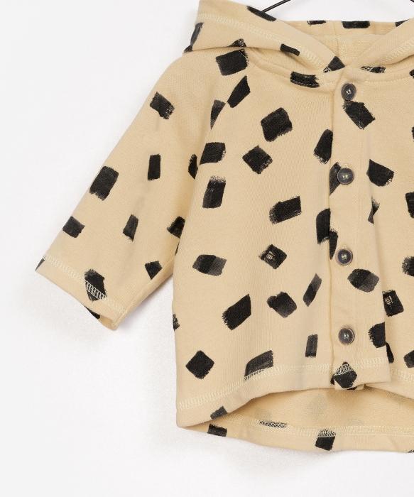 Jacheta fleece cu gluga print galben cu negru 2