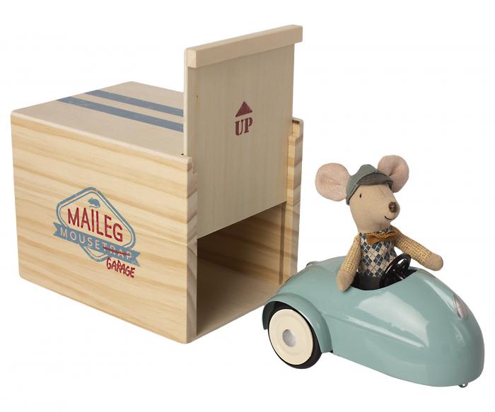 Mouse car w garage - Blue [0]